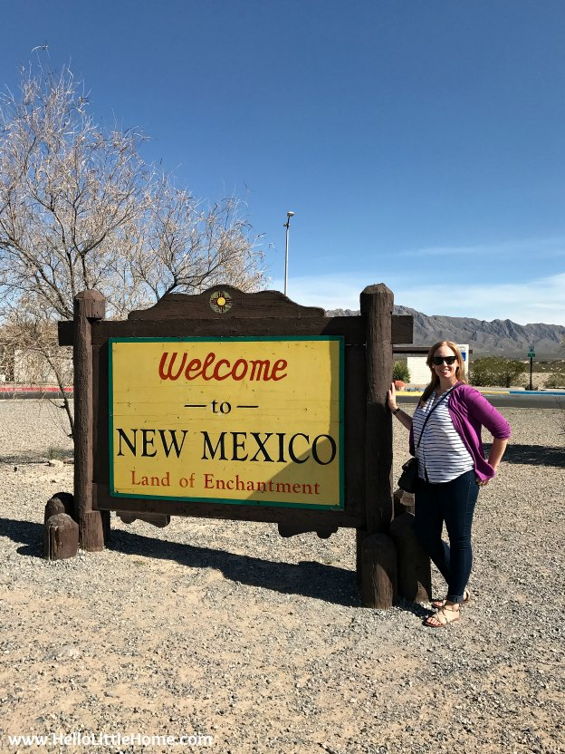 Entering New Mexico on an El Paso to Phoenix Road Trip! Travel from Texas to Arizona with lots of fun stops along the way, including White Sands National Monument and MLB spring training! Find out the best things to do in El Paso and Phoenix, from can't miss sights to delicious restaurants! | Hello Little Home