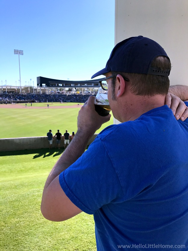 Cheering on the Milwaukee Brewers at Maryvale Baseball Park during an El Paso to Phoenix Road Trip! Travel from Texas to Arizona with lots of fun stops along the way, including White Sands National Monument and MLB spring training! Find out the best things to do in El Paso and Phoenix, from can't miss sights to delicious restaurants! | Hello Little Home