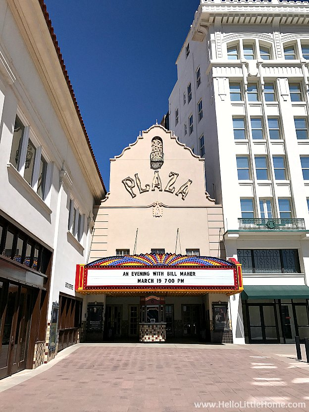 Exploring the Plaza Theatre in downtown El Paso during an El Paso to Phoenix Road Trip! Travel from Texas to Arizona with lots of fun stops along the way, including White Sands National Monument and MLB spring training! Find out the best things to do in El Paso and Phoenix, from can't miss sights to delicious restaurants! | Hello Little Home
