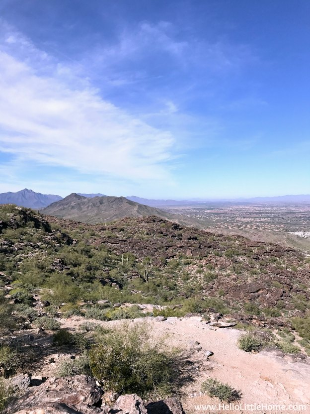 Exploring Phoenix's South Mountain Park (perfect for hiking, amazing views, and cactus spotting) during an El Paso to Phoenix Road Trip! Travel from Texas to Arizona with lots of fun stops along the way, including White Sands National Monument and MLB spring training! Find out the best things to do in El Paso and Phoenix, from can't miss sights to delicious restaurants! | Hello Little Home