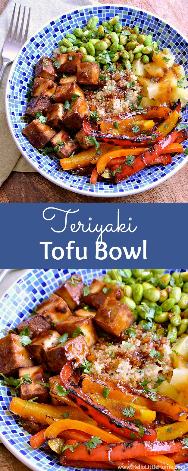 Teriyaki Tofu Bowl ... a delicious, easy recipe that's packed with veggies and lots of flavor! You are going to love this easy vegetarian bowl recipe. It starts with a quinoa base and features tasty tofu, yummy sauteed peppers, sweet pineapple, and protein packed edamame, and it's finished with a mouthwatering soy based homemade teriyaki sauce that's so simple to make! | Hello Little Home