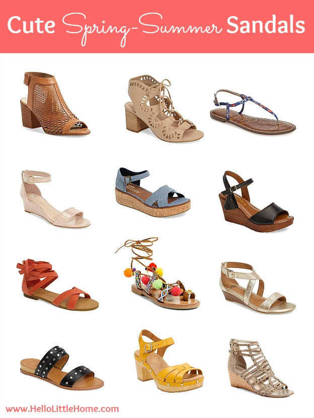 A collage of sandals.
