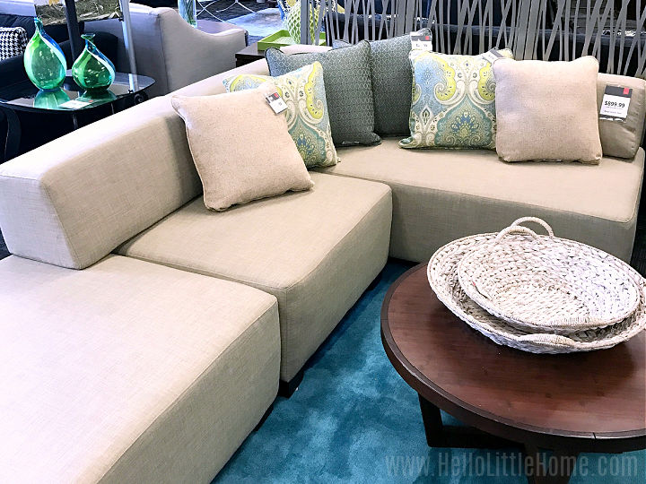 An inexpensive sectional in a furniture store.