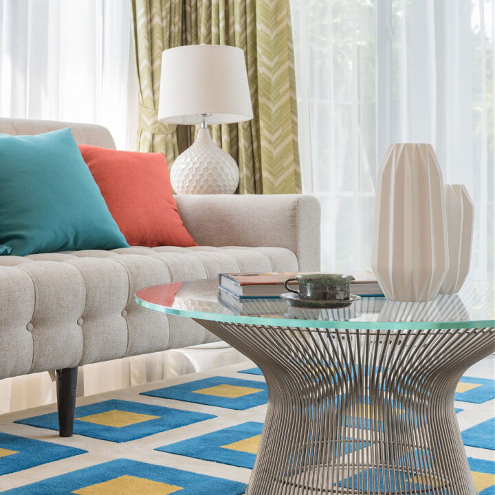 A colorfully and affordably decorated living room.