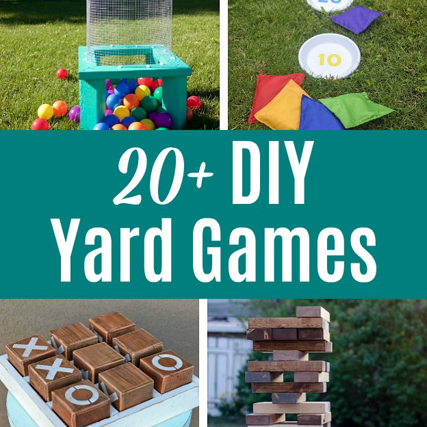 A photo collage showing different DIY Yard Games with a text overlay.