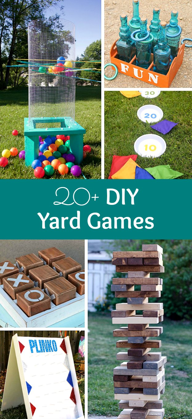 20+ DIY Yard Games that are perfect for summer entertaining! These awesome lawn games for adults and kids - like cornhole, giant Jenga, Yardzee, tic tac toe + more - are perfect for backyards, camping trips, and family fun. Learn how to make DIY yard games from these easy tutorials, then enjoy these game all summer long! | Hello Little Home