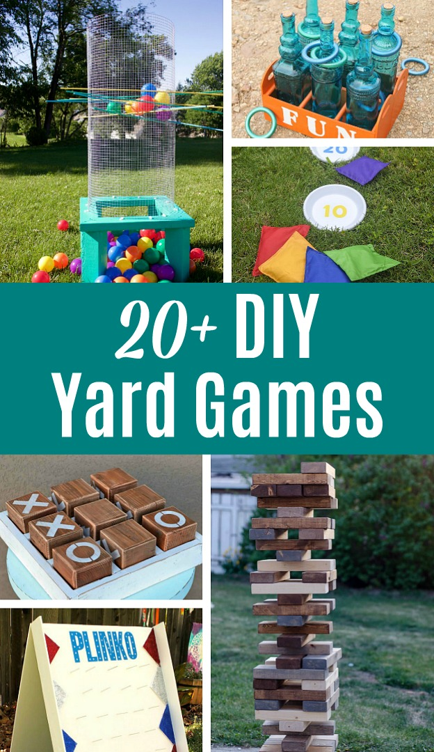 20+ DIY Yard Games that are perfect for summer entertaining! These awesome lawn games for adults and kids (like cornhole, giant Jenga, Yardzee, tic tac toe) are perfect for backyards, camping trips, and family fun. Learn how to make DIY yard games from these easy tutorials, then enjoy these games all summer long! Plus, classic lawn games to buy instead of DIY! | Hello Little Home #yardgames #lawngames #summer #summerfun #games #partyideas #entertaining #diyyardgames #diyproject #diycrafts