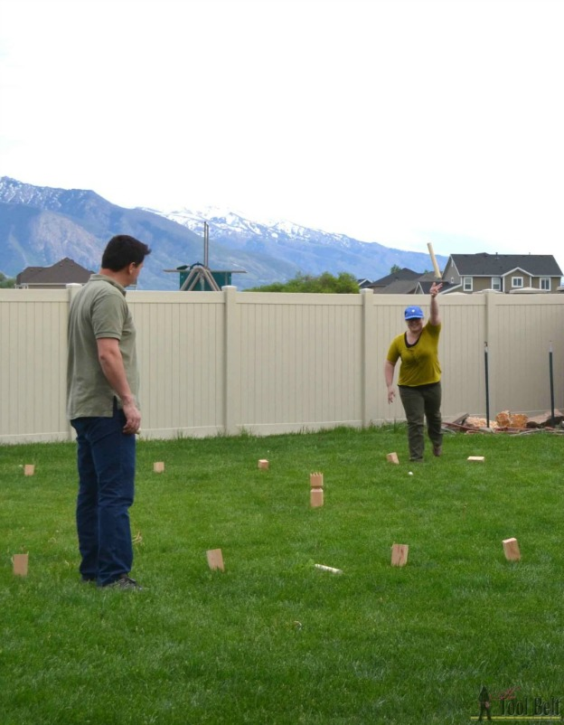 20+ DIY Yard Games that are perfect for summer entertaining, like this DIY Kubb Set from Her Tool Belt! These awesome lawn games for adults and kids - like cornhole, giant Jenga, Yardzee, tic tac toe + more - are perfect for backyards, camping trips, and family fun. Learn how to make DIY yard games from these easy tutorials, then enjoy these game all summer long! | Hello Little Home