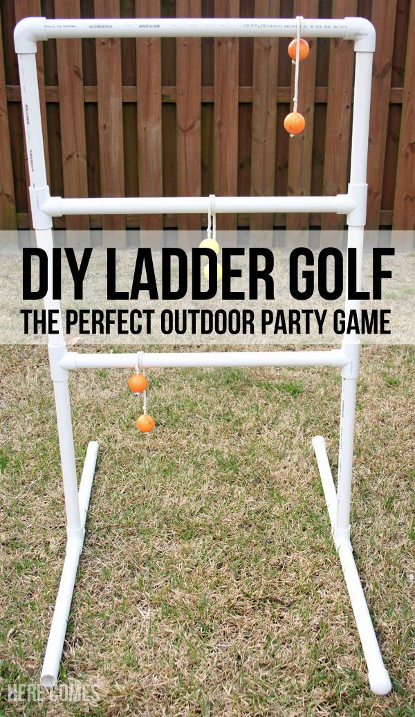 20+ DIY Yard Games that are perfect for summer entertaining, like this DIY Ladder Golf from Here Comes the Sun! These awesome lawn games for adults and kids - like cornhole, giant Jenga, Yardzee, tic tac toe + more - are perfect for backyards, camping trips, and family fun. Learn how to make DIY yard games from these easy tutorials, then enjoy these game all summer long! | Hello Little Home