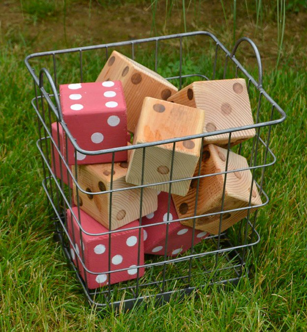 20+ DIY Yard Games that are perfect for summer entertaining, like this DIY Lawn Dice from Create & Babble! These awesome lawn games for adults and kids - like cornhole, giant Jenga, Yardzee, tic tac toe + more - are perfect for backyards, camping trips, and family fun. Learn how to make DIY yard games from these easy tutorials, then enjoy these game all summer long! | Hello Little Home