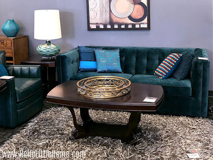 A colorful seating area in a budget-friendly furniture store.