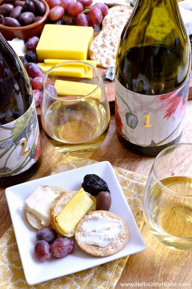 Fun tips for throwing a Chardonnay Wine Tasting! Set up an easy wine tasting with these simple ideas, plus learn how to arrange an easy cheese plate that's the perfect pairing for your wine tasting party! | Hello Little Home