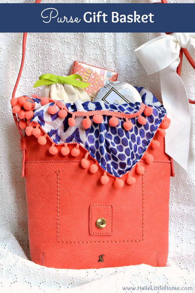 How to make a DIY Purse Gift Basket ... the perfect present for any woman! This unique gift basket idea is ideal for moms, girlfriends, bridesmades, and more! Makes a fun and creative gift for Mother's Day, a thank you, birthdays, and other holidays! | Hello Little Home