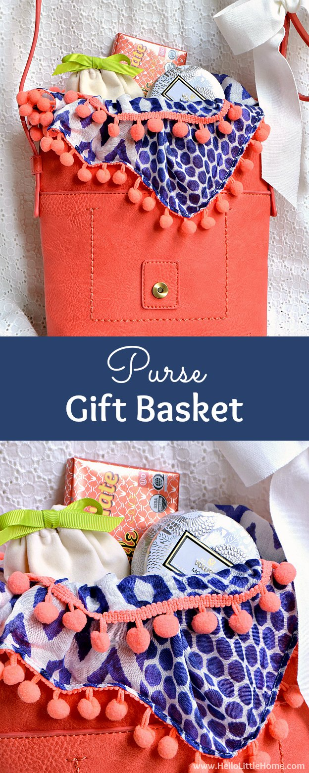 How to make a DIY Purse Gift Basket ... the perfect present for any woman! This unique mother's day gift basket idea is ideal for moms, girlfriends, bridesmades, and more! Makes a fun and creative gift for Mother's Day, a thank you, birthdays, and other holidays! | Hello Little Home #giftbaskets #giftbasketideas #gift #giftidea #giftsforher #diygifts #mothersday #mothersdaygift
