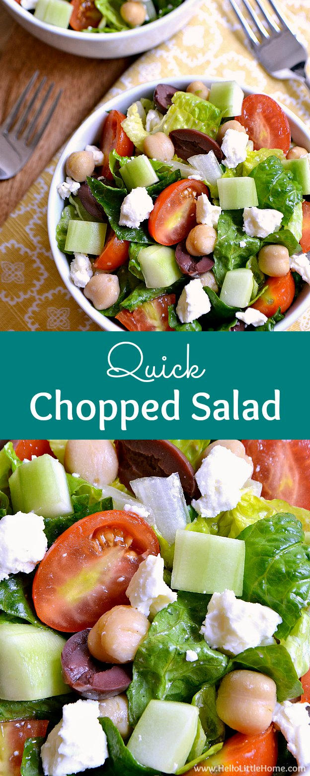 Quick Chopped Salad recipe with Lemon Basil Vinaigrette ... the easiest, most delicious no cook summer recipe! This simple and healthy vegetarian chopped salad (with vegan option) is perfect for hot, lazy days! An easy, veggie packed, low carb / gluten free salad that's sure to become a family fave! | Hello Little Home