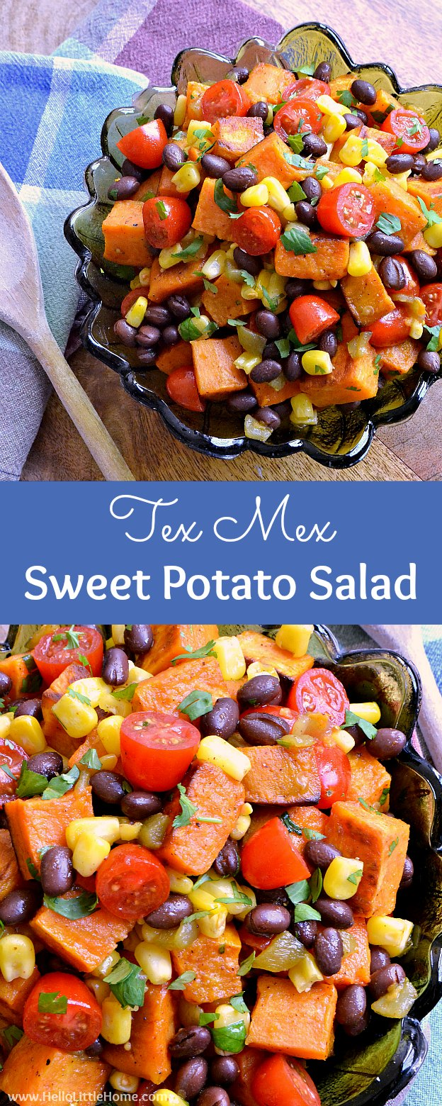 Tex Mex Roasted Sweet Potato Salad ... a delicious vegetarian side dish recipe your family will love! This cold roasted sweet potato salad is packed with healthy, fresh ingredients: black beans, corn, tomatoes, and cilantro ... all tossed together with an amazing chili lime vinaigrette (with a touch of maple syrup). It's also gluten free and vegan, and makes a tasty side or even a light dinner or lunch! | Hello Little Home