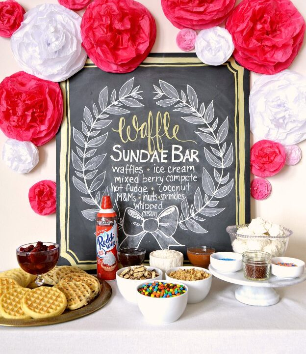 DIY Waffle Ice Cream Sundae Bar ... the perfect summer entertaining idea! Create your own ice cream sundae bar for birthdays, weddings, baby showers, graduations, and other events with these easy ideas! Full of great tips for display, topping ideas, and more, this DIY dessert table idea is full of summer inspiration! | Hello Little Home