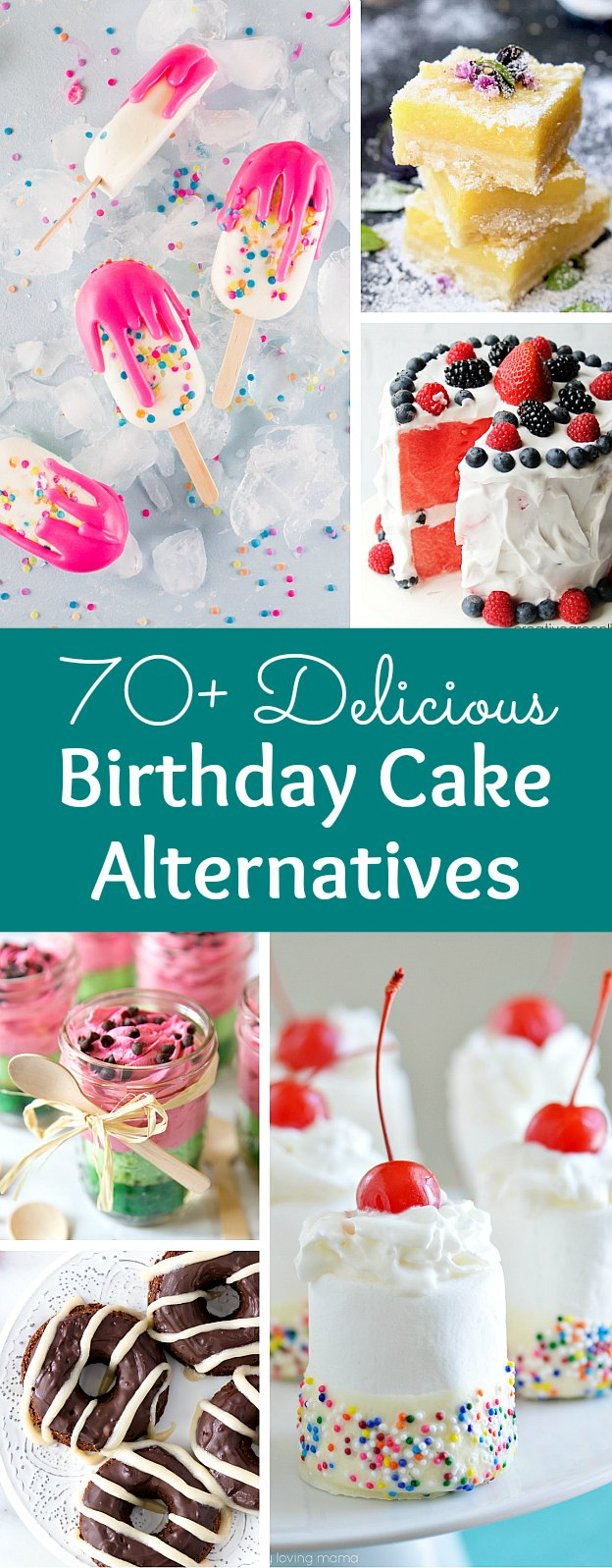 The ultimate Birthday Cake Alternatives roundup ... over 70 delicious recipes perfect for adults and for kids alike! These fun dessert ideas range from healthy to decadent. Awesome non cake birthday ideas your whole family will love! | Hello Little Home