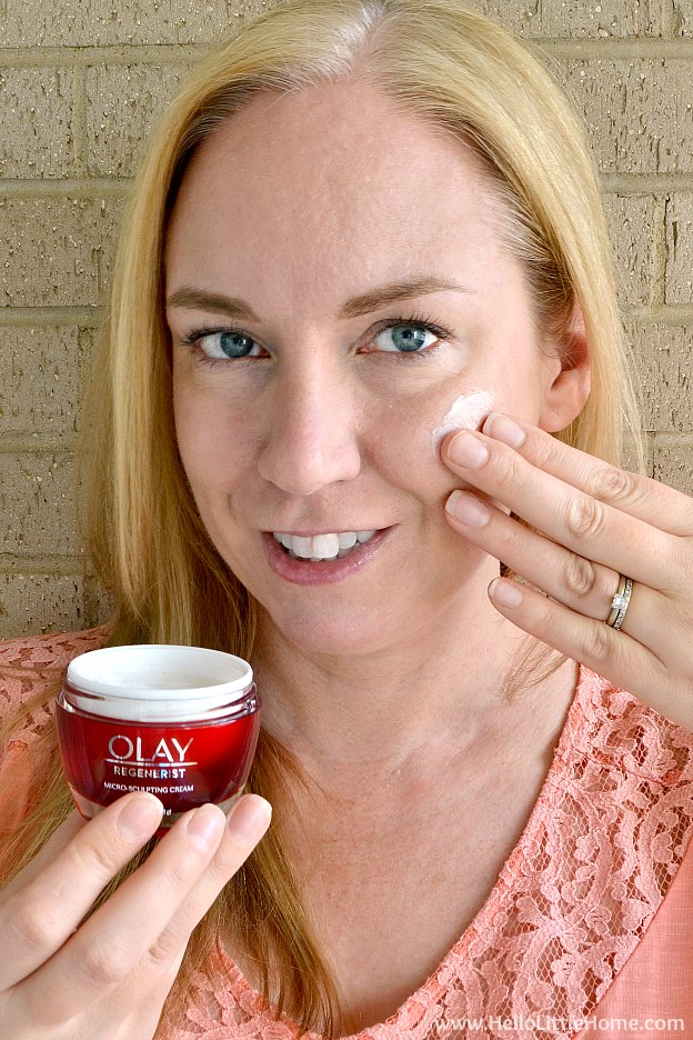 4 Easy Anti Aging Skin Care Tips! Learn how to choose the best anti aging skin care products, including drugstore faves like Olay Regenerist Micro Sculpting Cream, for preventing wrinkles (and improving the appearance of existing ones)! Simple skin care tips for developing a anti aging skin care routine that will help you look younger ... perfect for 20s, 30s, 40, 50s, and beyond! | Hello Little Home