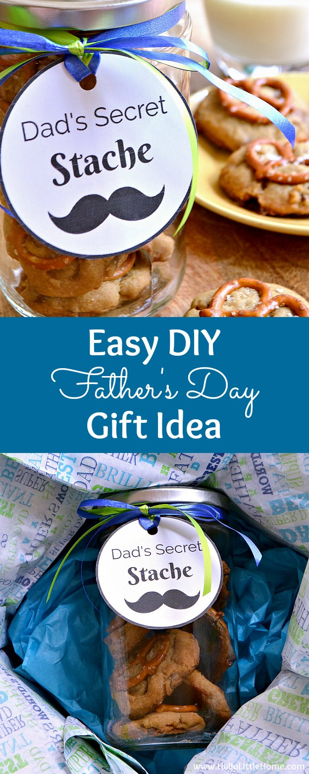 Easy DIY Father's Day gift idea ... Dad's Secret Stache jar with free printable gift tag! Fill a mason jar with your favorite homemade cookies and attach a fun label for dad ... it's the perfect affordable, last minute Father's Day gift (give it from the kids or even a wife) that he's sure to love! Includes a yummy Salted Caramel Pretzel Cookie recipe! | Hello Little Home