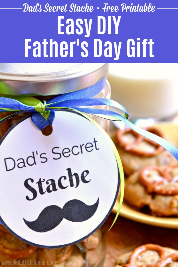 Easy DIY Father's Day gift idea ... Dad's Secret Stache jar with free printable gift tag! Fill a mason jar with your favorite homemade cookies and attach a fun label for dad ... it's the perfect affordable, last minute Father's Day gift (give it from the kids or even a wife) that he's sure to love! Includes a yummy Salted Caramel Pretzel Cookie recipe! | Hello Little Home #fathersday #fathersdaycrafts #fathersdaygift #diyfathersdaygift #giftideas #diygifts #diygiftidea