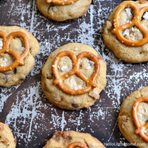 Salted Caramel Pretzel Cookies recipe ... a delicious and easy to make cookie packed with chocolate chips, caramel bits, and pretzels chunks that your whole family is sure to love! | Hello Little Home