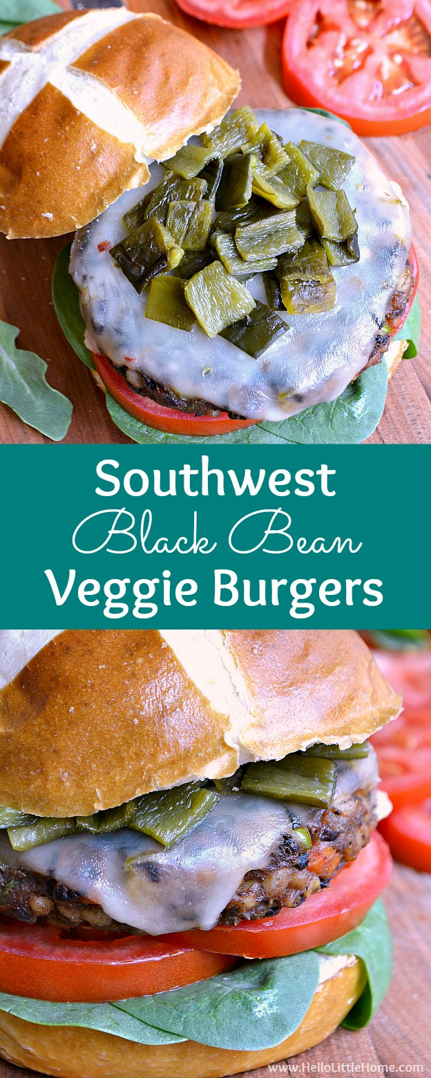 Southwest Black Bean Veggie Burger Recipe! These homemade black bean burgers are easy to make, filled with flavorful, healthy ingredients, and topped with spicy pepper jack cheese and roasted green chilies! Your whole family is going to love this simple vegetarian bean burger recipe! | Hello Little Home