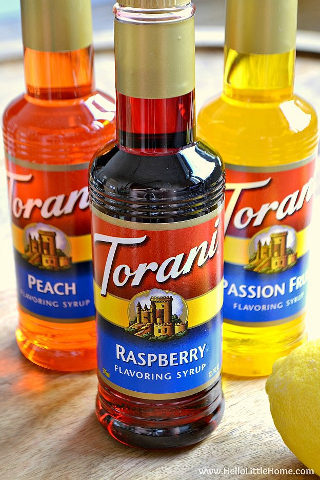 Torani Peach, Raspberry, and Passion Fruit Syrups | Hello Little Home