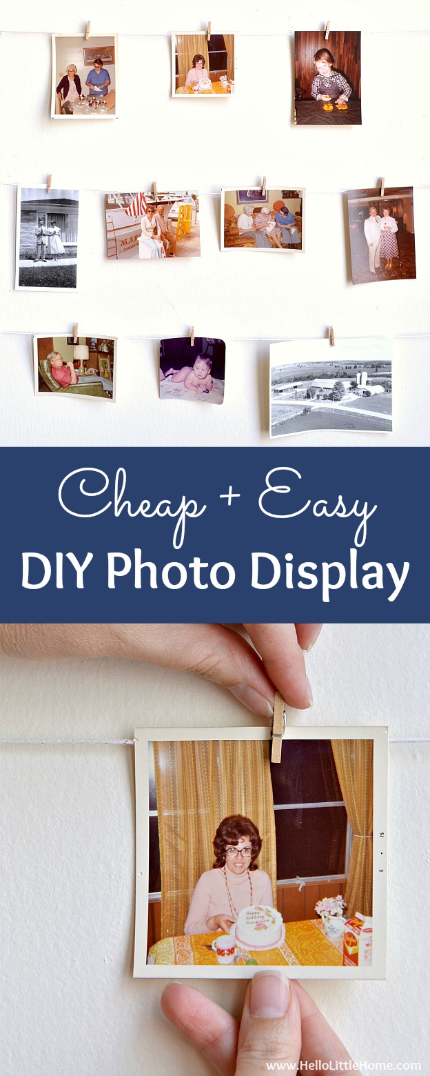 Cheap + easy DIY Photo Display! Looking for easy photography display ideas? Learn how to make this simple wall system with clothespins, twine, and command hooks! A fast + fun photo display tutorial that's perfect for apartments, dorm rooms, weddings, offices, or anywhere you don't want to damage walls! | Hello Little Home #photos #wallart #walldecor #photodisplay #gallerywall #homedecorideas #photodisplayideas #diyproject #familyphotos #homedecor #photocrafts #photography