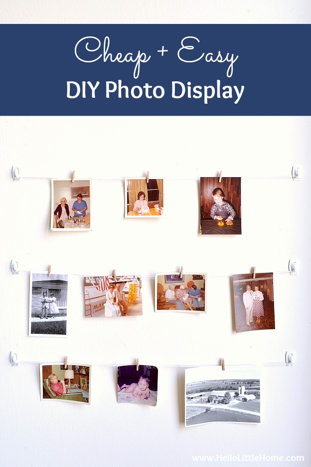 Cheap + easy DIY Photo Display! Looking for easy photography display ideas? Learn how to make this simple wall system with clothespins, twine, and command hooks! A fast + fun photo display tutorial that's perfect for apartments, dorm rooms, weddings, offices, or anywhere you don't want to damage walls! | Hello Little Home