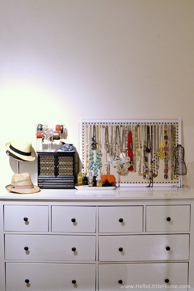 Loft apartment details - dresser and jewelry organization. | Hello Little Home