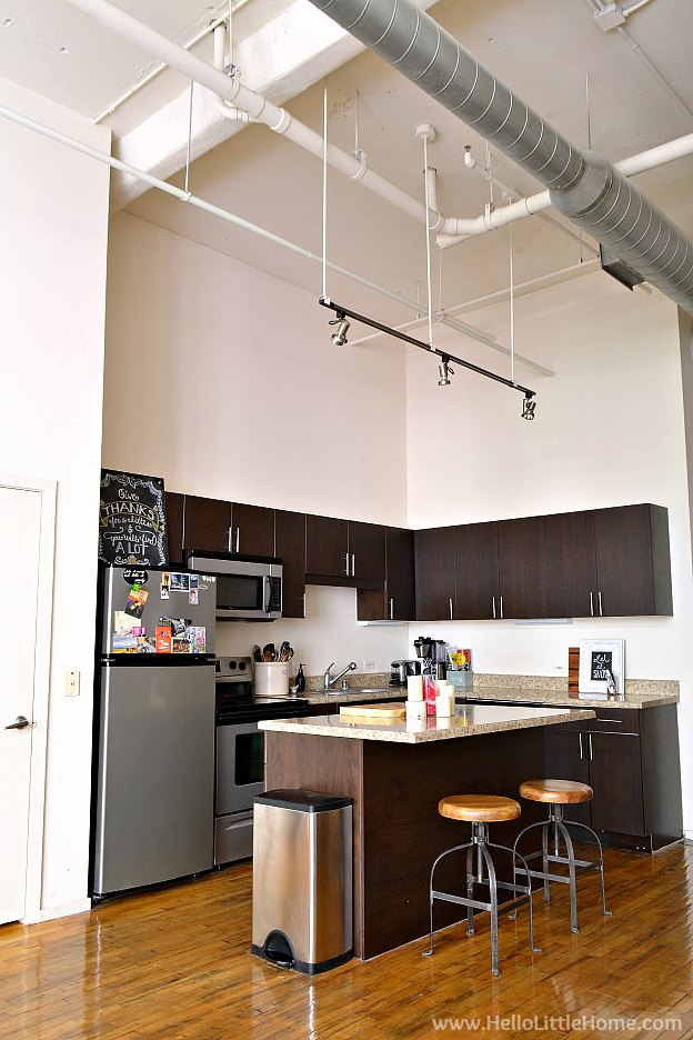 Dallas Loft Apartment Tour! Take a tour of a historic loft building apartment. Full of loft apartment decorating ideas, easy DIY projects, and open layout tips for urban loft decorating on a budget! | Hello Little Home