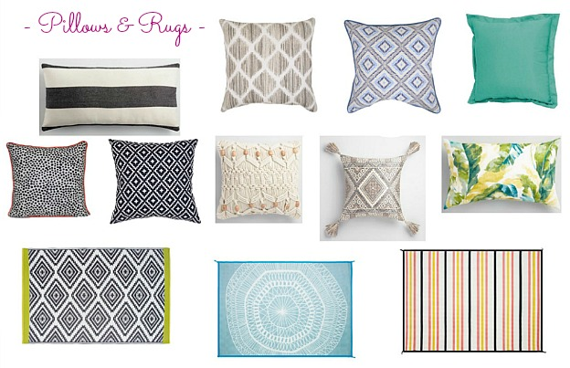Faves Under $50: Outdoor Pillows and Rugs! Decorate your terrace, patio, porch, or deck for summertime or fall ... the best outdoor decor on a budget! Lots of outdoor accessories perfect for apartments and small spaces. | Hello Little Home