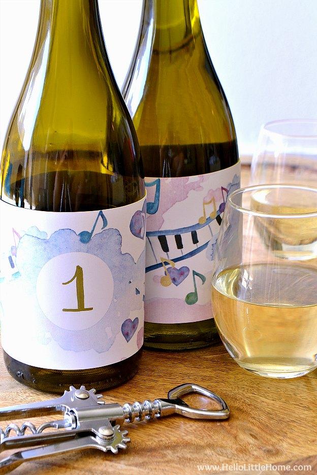 Free printable blind wine tasting labels on bottles. | Hello Little Home