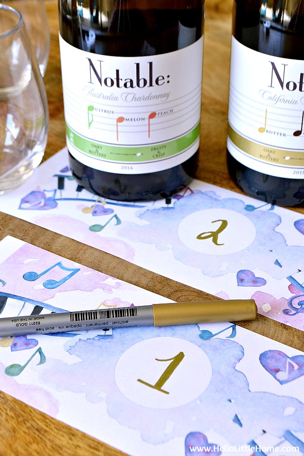 Adding numbers to free printable blind wine tasting labels. | Hello Little Home