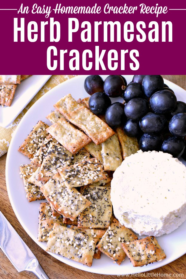 Easy Herb Parmesan Crackers recipe! Learn how to make homemade crackers at home … it's simple. These DIY seasoned crackers are flavored with parmesan cheese and herbs (basil, thyme + garlic), topped with sesame and poppy seeds, and baked. These healthy, savory crackers are fast to prepare and make an impressive rustic appetizer or snack, especially when paired with wine and cheese! | Hello Little Home #crackers #crackerrecipe #homemade #homemadecrackers #appetizer #snacks #appetizerrecipe