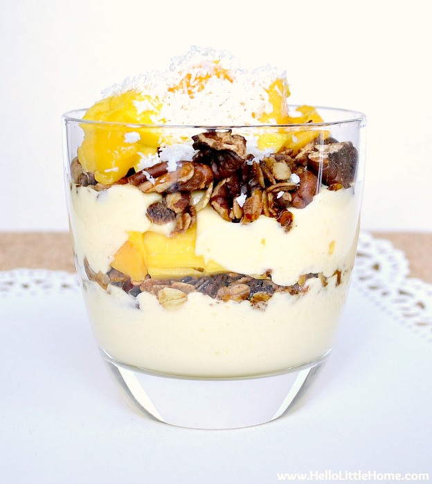 Easy Mango Yogurt Breakfast Parfait recipe! Treat yourself to this healthy breakfast parfait with yogurt, granola, and fresh mango. It's the perfect morning meal! | Hello Little Home