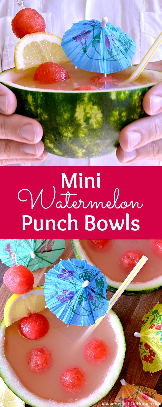 Mini Watermelon Punch Bowls ... a fun and easy tutorial! Make these adorable individual punch bowls in minutes! Plus, get a simple two ingredient, nonalcoholic watermelon punch recipe that's loved by both kids and adults. The perfect drink for summer parties! | Hello Little Home