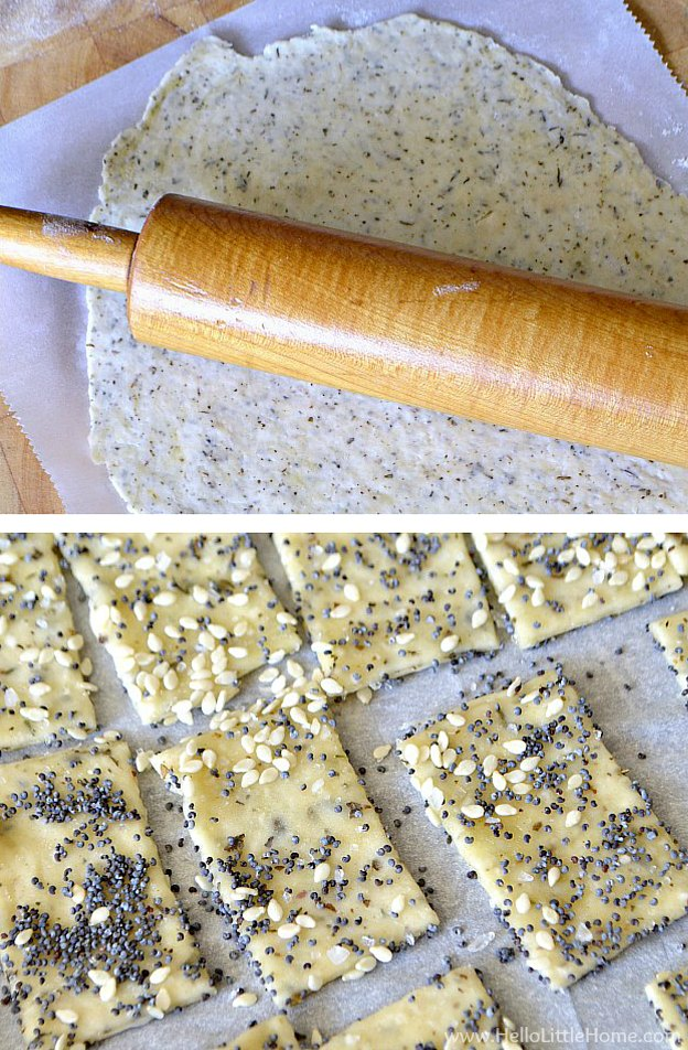Rolling out and cutting homemade crackers.