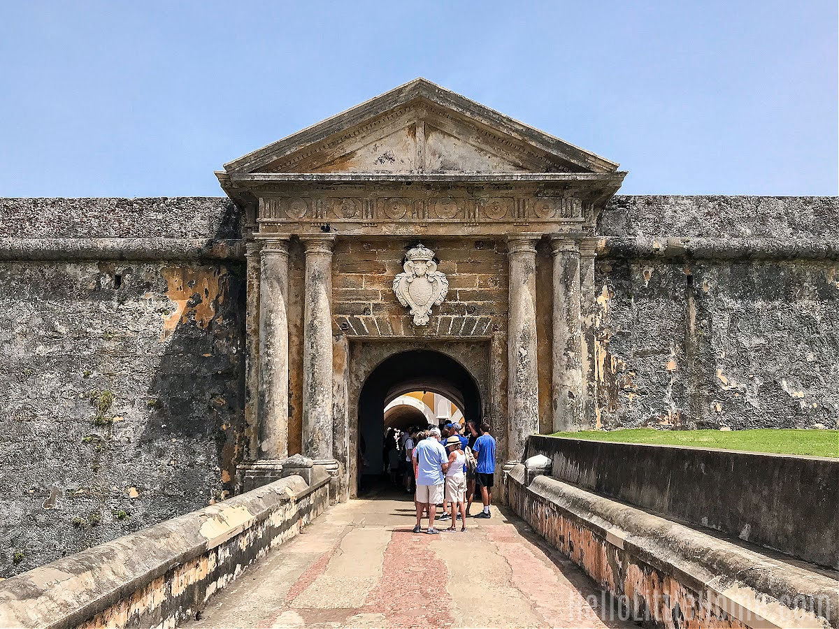 People standing in line at the entrance to El Morro, part of San Juan National Historic Site.