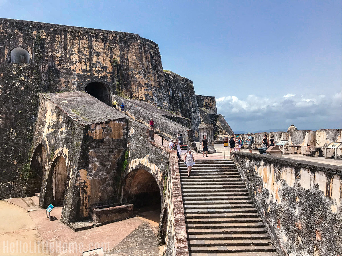 A series of stairs leading up the exterior of El Morro.
