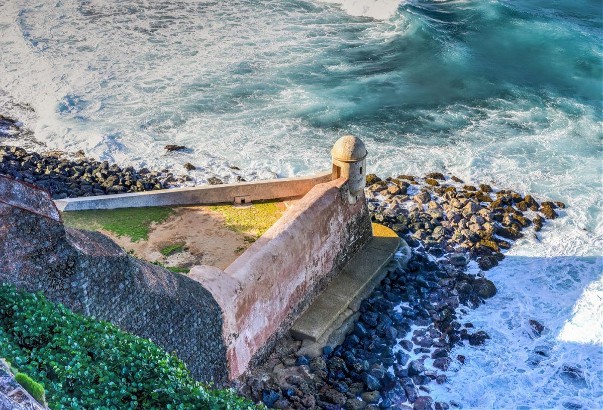 A sentry box (La Garita del Diablo) by the ocean at a fort in San Juan, Puerto Rico.
