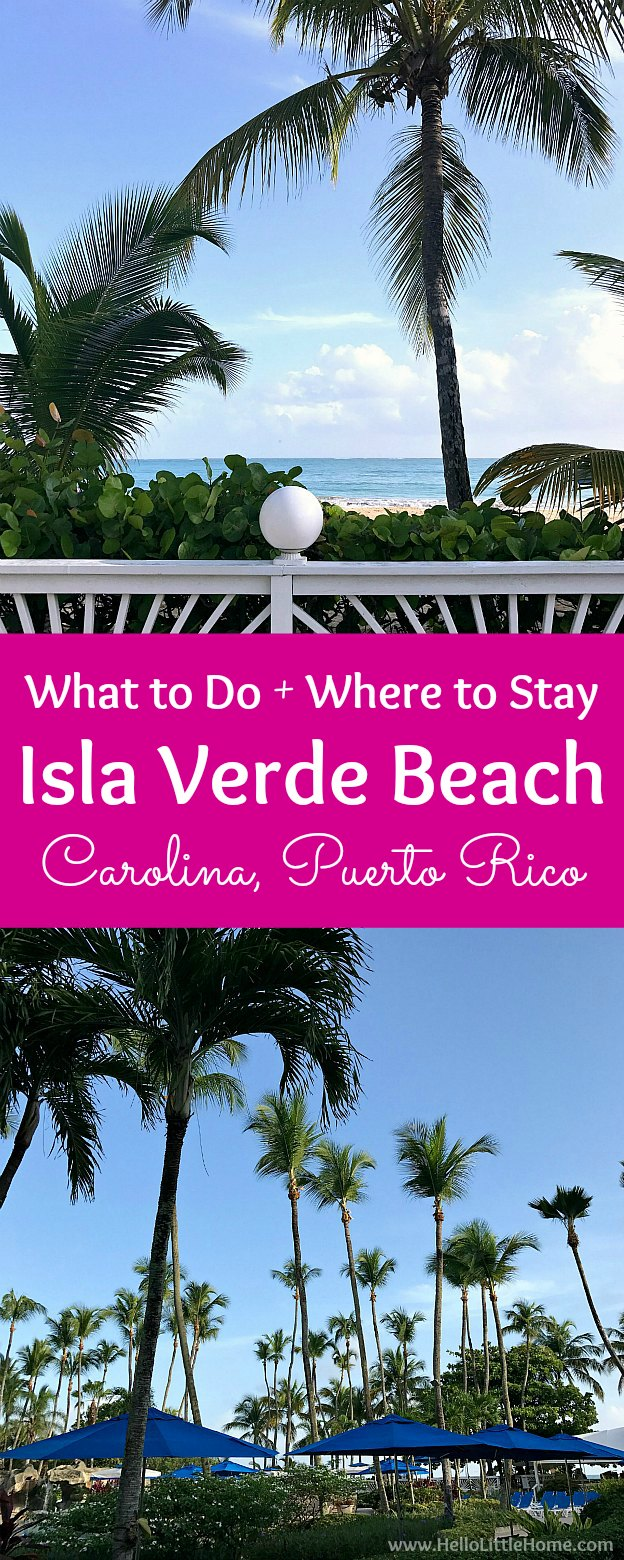 Take a trip to beautiful Isla Verde Beach in Carolina, Puerto Rico! This San Juan beach guide has all the best things to do on Isla Verde Beach, plus tips for places to stay in San Juan, Puerto Rico. Isla Verde Puerto Rico is the best place to sink your toes into the soft sand, gaze at the beautiful palm trees, and relax at the perfect beach resort in San Juan! | Hello Little Home #seepuertorico #sanjuan #carolinapuertorico #puertorico #puertoricobeach #sanjuanbeach #islaverdebeach
