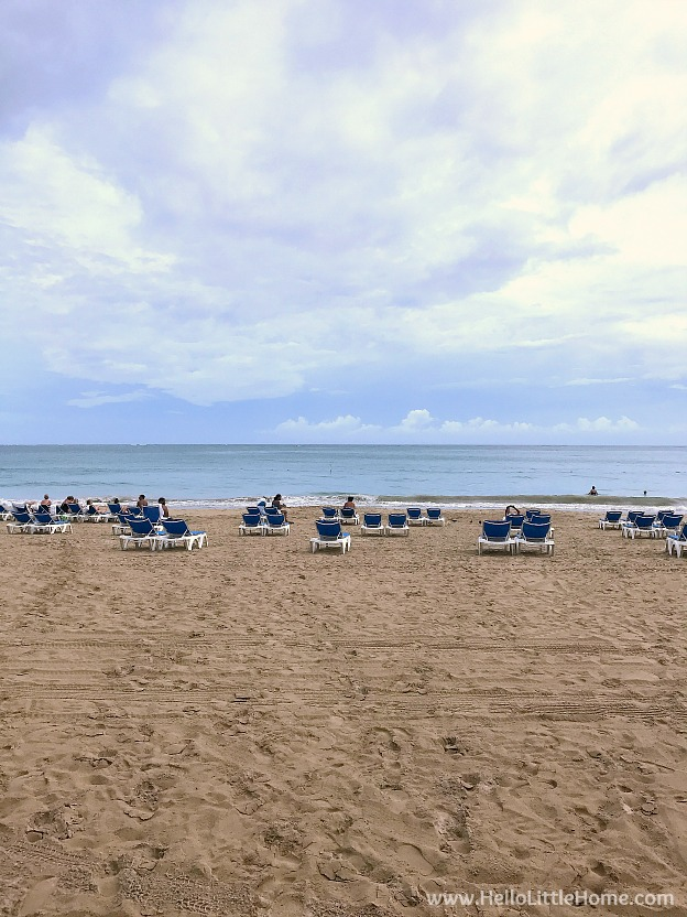 Lounge chairs on beautiful Isla Verde Beach in Carolina, Puerto Rico! | Hello Little Home