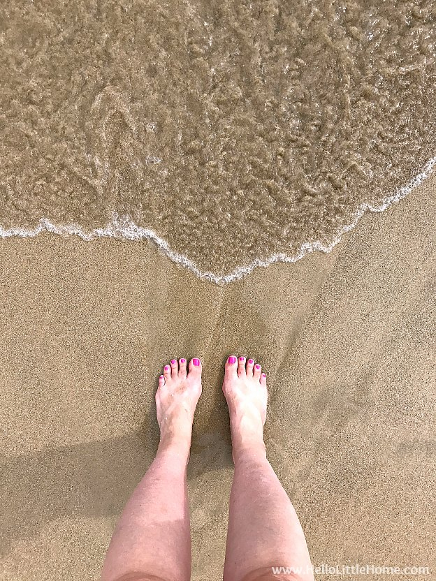 Dipping my toes in the water on beautiful Isla Verde Beach in Carolina, Puerto Rico! | Hello Little Home