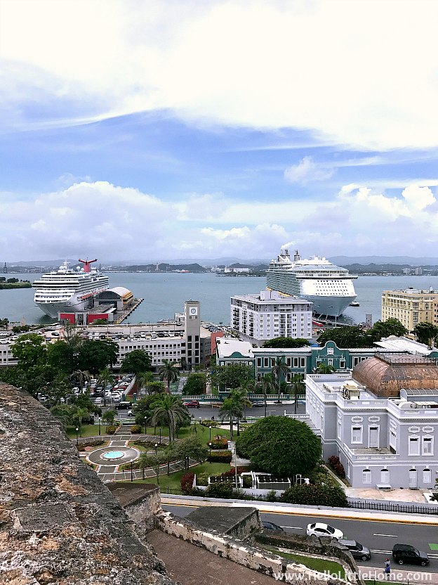 View of Old San Juan and cruise ships from Castillo San Cristóbal, part of the San Juan National Historic Site and one of the best things to do in San Juan, Puerto Rico! | Hello Little Home