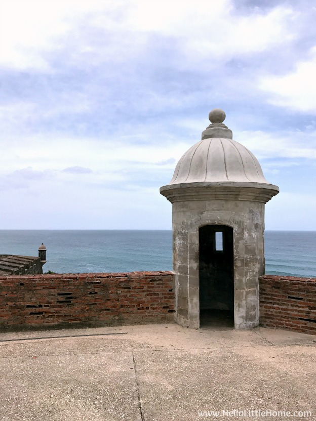 A Sentry Box outside the historic entrance to Castillo San Cristóbal, part of the San Juan National Historic Site and one of the best things to do in San Juan, Puerto Rico! | Hello Little Home