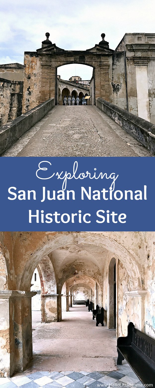 San Juan National Historic Site ... one of the best things to do in San Juan, Puerto Rico! Tons of photos and tips for visiting this historic fort, U.S. National Park, and World Heritage Site. Learn about the different parts of the San Juan National Historic Site, including Castillo San Felipe del Morro, Castillo San Cristóbal, the city walls of Old San Juan, the San Juan Gate, and Fort San Juan de la Cruz, in this fascinating travel guide! | Hello Little Home