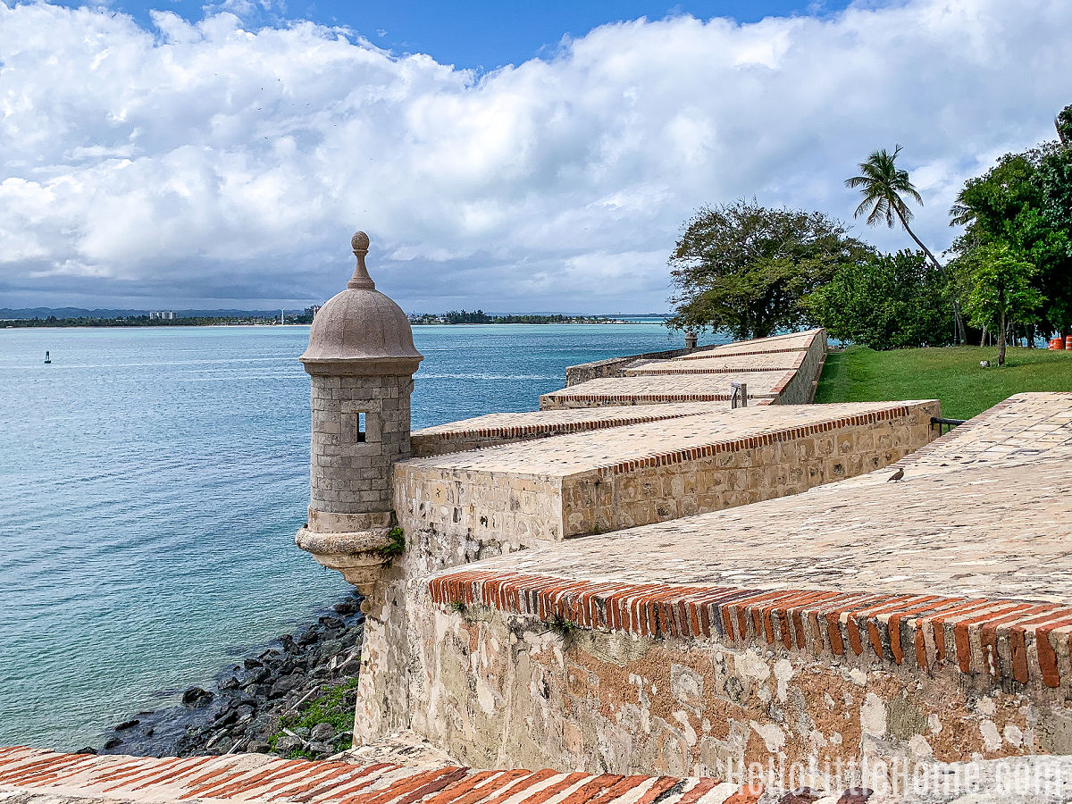A sentry box on the San Juan City Walls overlooking the Bay.