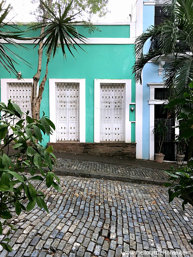 Colorful Buildings and Blue Cobblestone Street in Old San Juan | Hello Little Home
